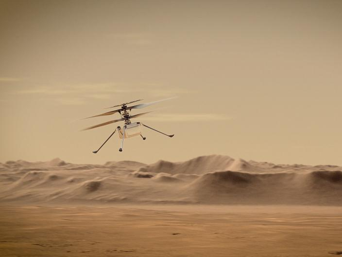 An artist's concept of NASA's Ingenuity Mars Helicopter, flying above the surface of the red planet.