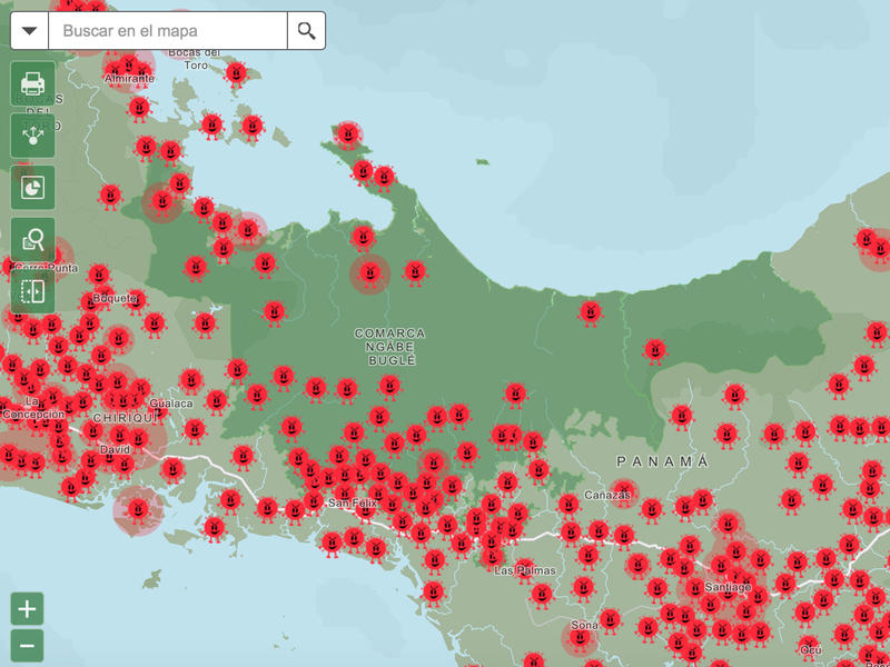 Doviaza's maps overlay the daily number of COVID cases reported by the health ministry (depicted as the spike protein of the virus, shown in red) with locations of indigenous communities (dark green).
