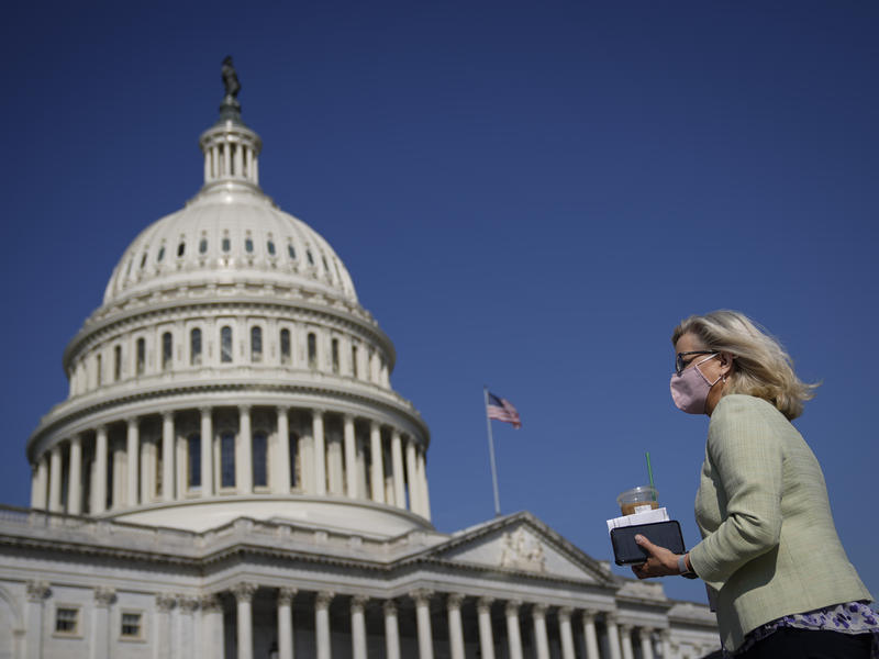 Rep. Liz Cheney of Wyoming, seen here outside the U.S. Capitol on March 11, once again faces a vote from the Republican conference to remove her from her leadership role. She beat back an effort in February.