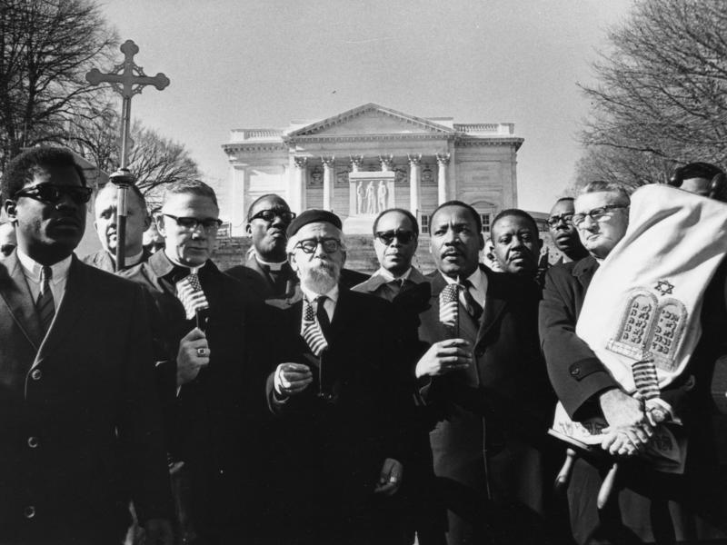 Rabbi Abraham Heschel, center, with Dr. Martin Luther King to his left, stands with (from left) Bishop James Shannon and Rabbi Maurice Eisendrath during a protest at the Tomb of the Unknown Soldier in Arlington Cemetery on Feb. 6, 1968.