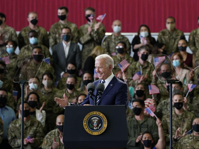 President Biden speaks to U.S. service members in England, on the first stop of his first overseas trip as president.