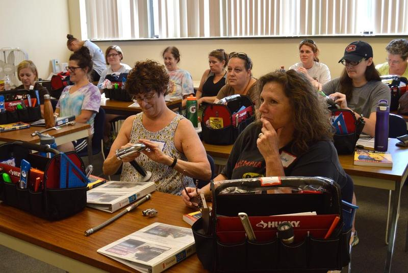 Women attend the second of five classes on home repair sponsored by NeighborWorks of Western Vermont. The course, which is taught by Morgan Overable, is geared especially for women.