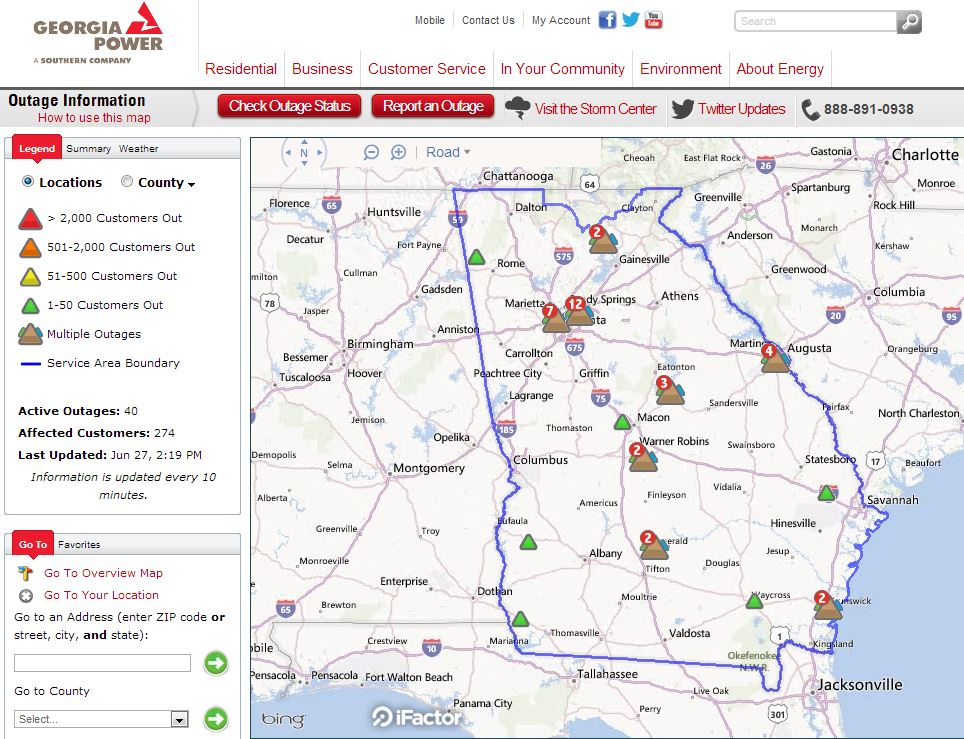 Lights Out Check Georgia Power S New Interactive Outage Map