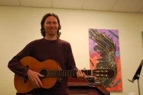 Jeff Barnes leads music therapy classes at Skyland Trail, a nonprofit mental health facility in Atlanta.