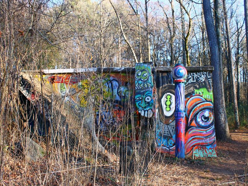 The crumbling walls of the old Decatur Water Works facility off the South Peachtree Creek Trail.