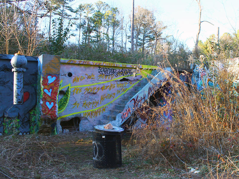 Graffiti covers the old Decatur Water Works facility off the South Peachtree Creek Trail.