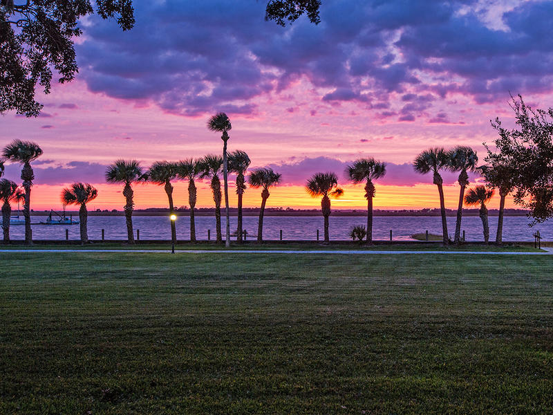 A sunset is captured from the Riverfront Lawn at the Jekyll Island Club Hotel in Jekyll Island, GA.