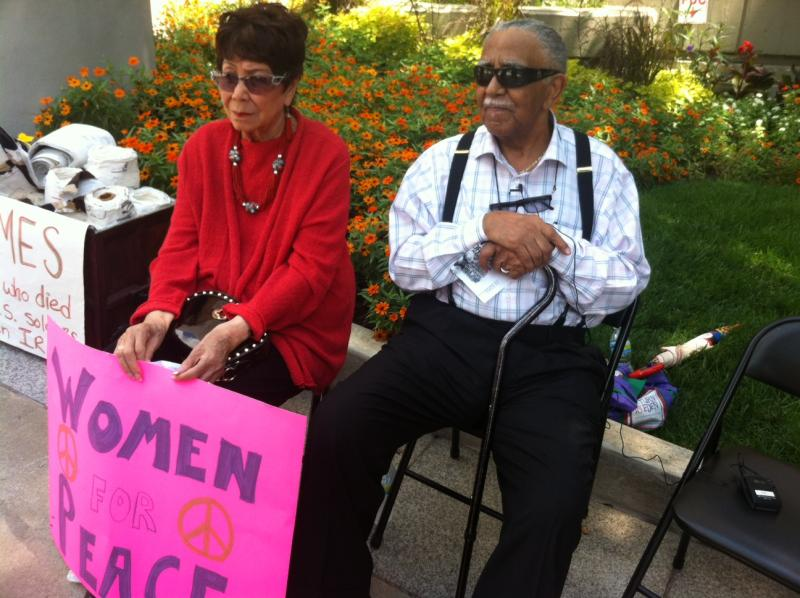 Evelyn and Joseph Lowery, photographed in August of last year at a protest against the Afghanistan war.