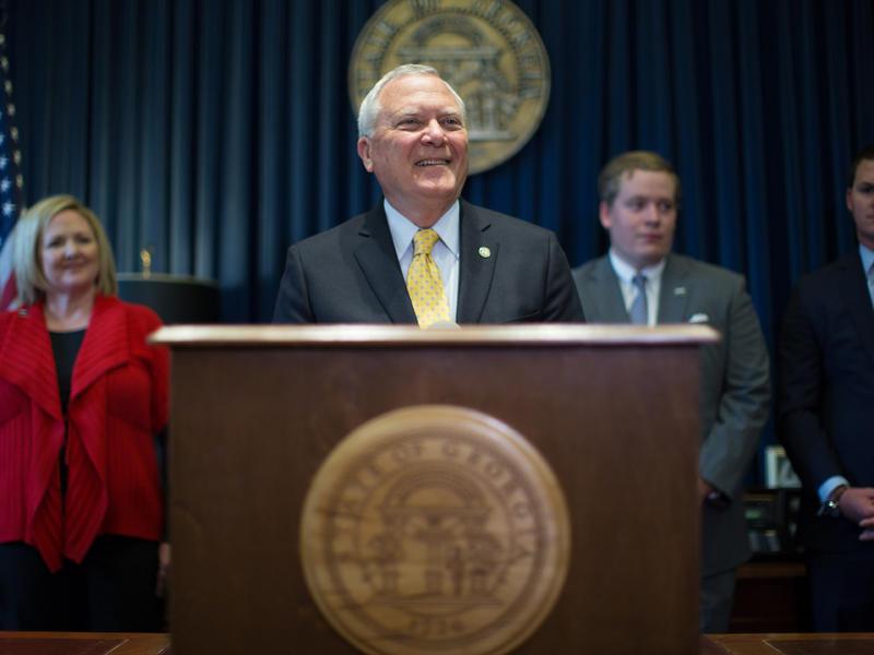 Gov. Nathan Deal speaks during a press conference, Wednesday, Nov. 5, 2014, in Atlanta.
