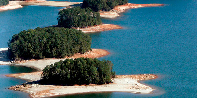 Drought conditions exposed Lake Lanier's lake bed in 2007.
