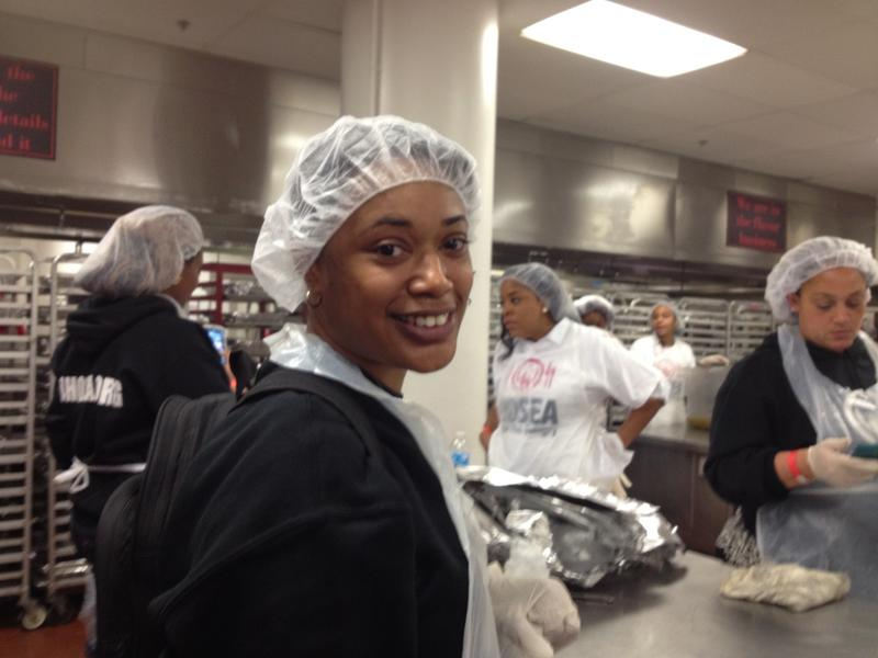 Kaena Appling is volunteering at Hosea Feed the Hungry for the first time this year.