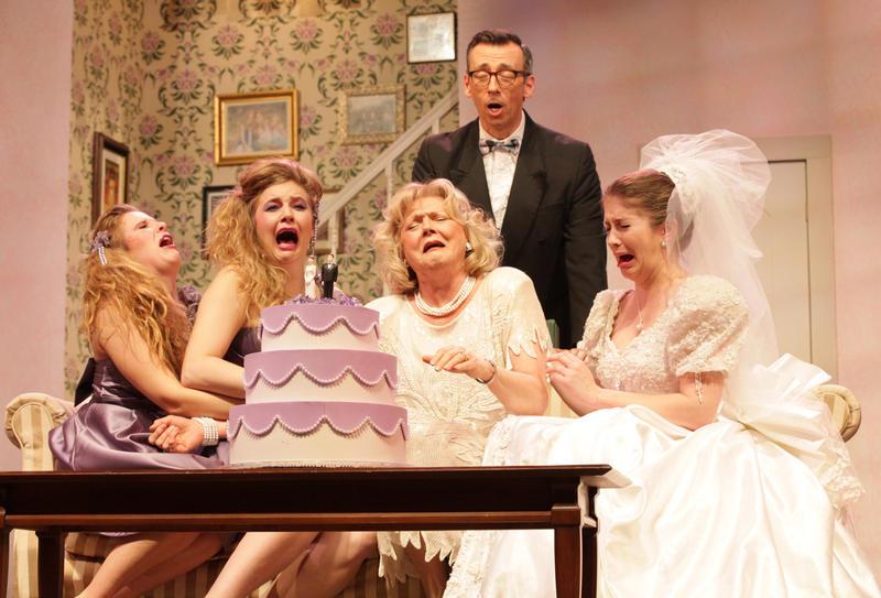 "Bekah Medford, Jennifer Alice Acker, Karen Howell, Mark Cabus, and Kelly Criss in ""One Slight Hitch"" at Georgia Ensemble Theatre"