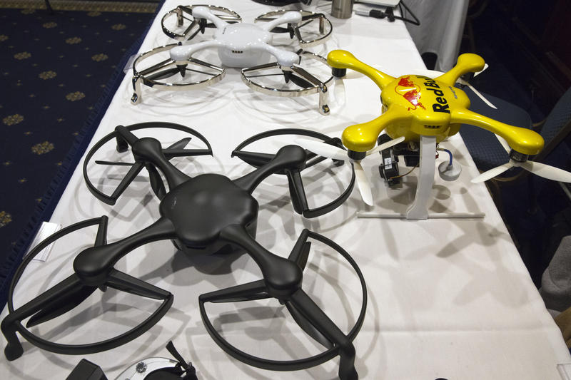 Ghost drones are displayed at an event with the Small Unmanned Aerial Vehicles (UAV) Coalition, Tuesday, Jan. 20, 2015, at the National Press Club in Washington.