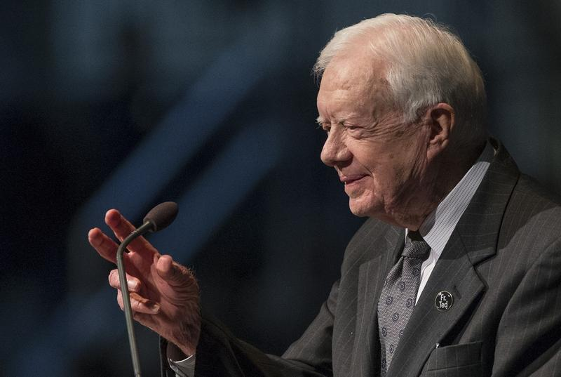 Former President Jimmy Carter speaks during the memorial service for Rev. Theodore Hesburgh on Wednesday, March 4, 2015, inside the Purcell Pavilion at the University of Notre Dame in South Bend, Ind.