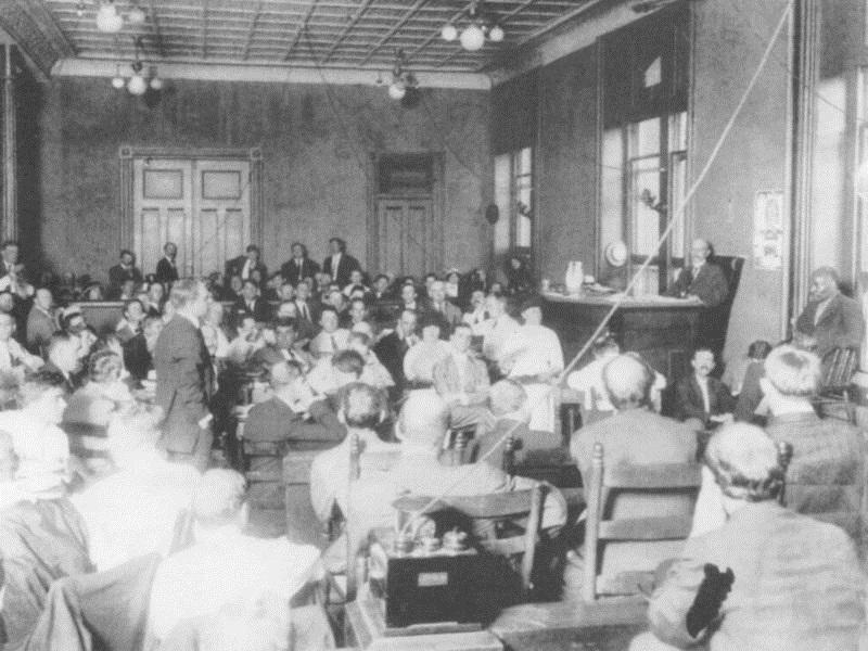 The first day of the murder trial of Leo Frank on July 28, 1913 in Atlanta where spectators were racially segregated in the courtroom. Frank was convicted of the murder of 13-year-old Mary Phagan on Aug. 25, 1913.
