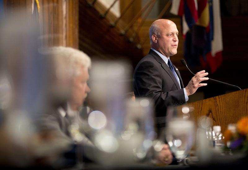 New Orleans Mayor Mitch Landrieu speaks during a National Press Club Luncheon in Washington, Tuesday, Aug. 18, 2015. Landrieu reported on his city's emergence as a model of urban renewal and economic recovery, 10 years after Hurricane Katrina nearly wiped