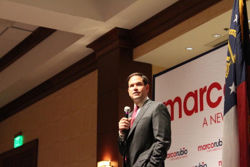 Republican presidential candidate Marco Rubio speaks to supporters in Buckhead.
