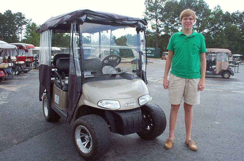 Sophomore Jack Bruschetti has been taking his golf cart to McIntosh High School since February. In Peachtree City, teenagers can drive a golf cart unaccompanied at age 15.