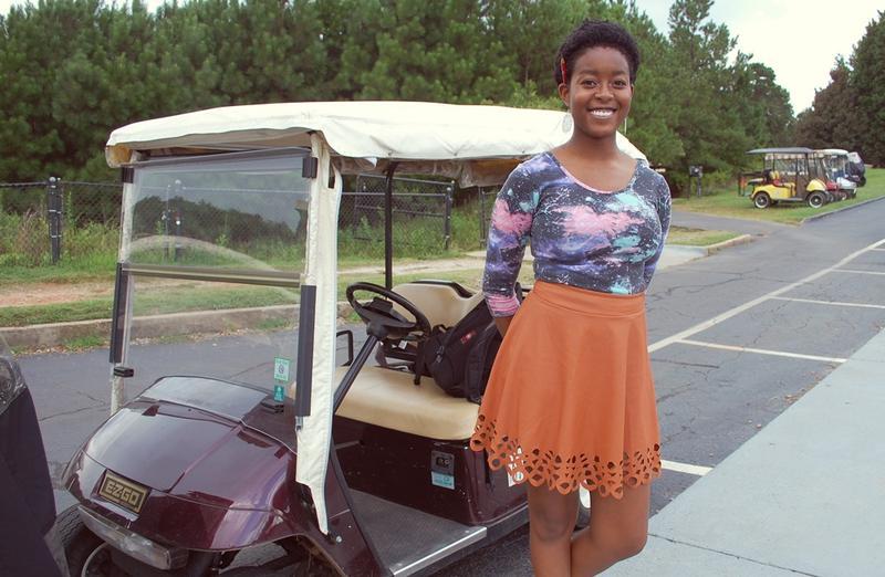 Senior Lota Errine says she takes her family's golf cart ''pretty much anywhere I need to go.''