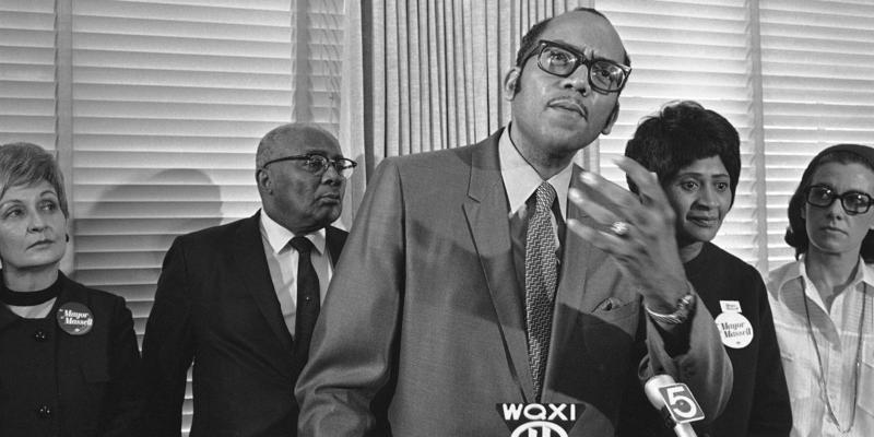 State Sen. Leroy Johnson, foreground, speaks for a group of Atlanta African-American leaders in support of Vice Mayor Sam Massell at a City Hall news conference on Oct. 20, 1969 in Atlanta.