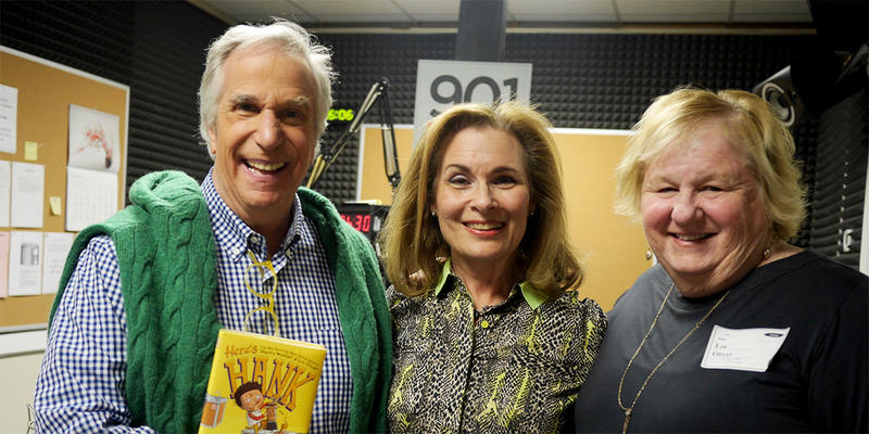Henry Winkler (left), seen here with Lois Reitzes and co-author Lin Oliver (right), writes the ''Here's Hank'' series of book that features a specialized font for children with dyslexia.