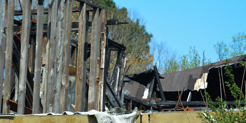 All that's left after this building burned is the structure's charred frame.