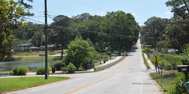 McAfee Rd passes over the Buena Vista Lake Dam in Decatur (Dekalb County).