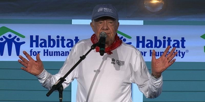 Former President Jimmy Carter holds a morning devotion Monday in Memphis, Tennessee, before he and his wife Rosalynn help build a home for Habitat for Humanity.