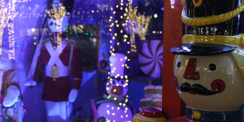 A christmas display featuring a massive toy soldier and more in Marietta Square during the holidays.