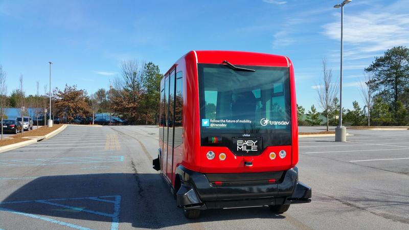 The D.C.-based policy group, the Alliance for Transportation Innovation, kicked off a month-long cross-country roadtrip in Austell on Thursday with an Easy Mile electric autonomous shuttle. The group is pushing for less government regulation of self-drivi
