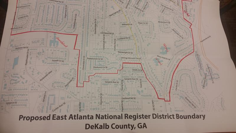 A map of the area of East Atlanta that residents want to be placed on the National Register of Historic Places.