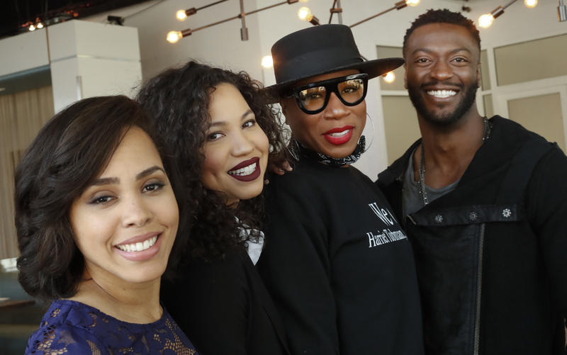 Members of the cast of the television show Underground from left: Amirah Vann, Jurnee Smollett, Ashia Hinds and Aldis Hodge pose for a photo to Thursday, Feb. 2, 2017, in Atlanta.