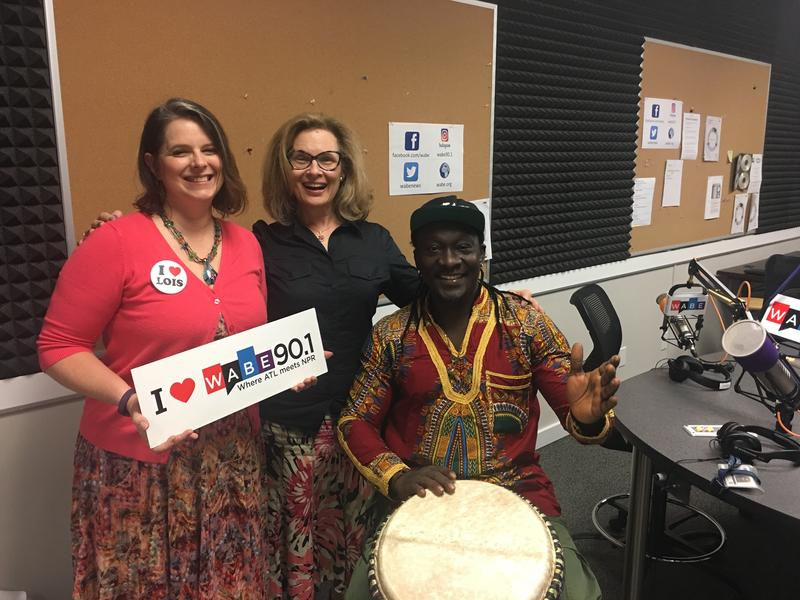 Melanie Darby, left, and Aly Camara, right, speak with Lois Reitzes about the fourth annual Summer World Music Festival at Spivey Hall.