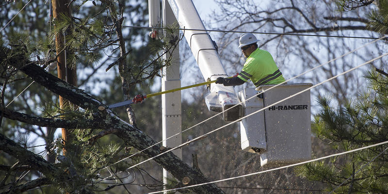 Georgia Power had 6,000 people working on restoring power Tuesday, including crews from across the country that have come to help – some as far away as California.