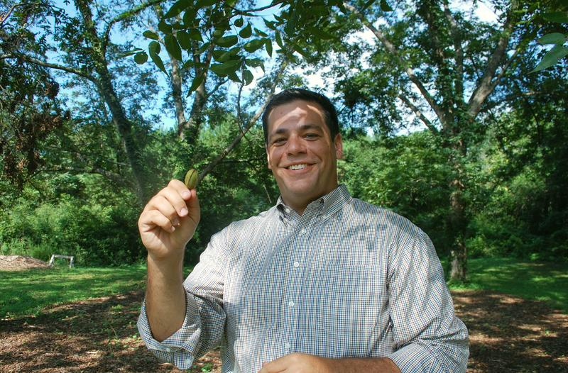 Atlanta urban agriculture director Mario Cambardella holds up a green pecan on the site of the city's first official food forest in southeast Atlanta.