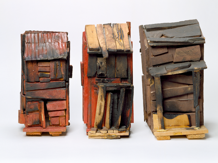 "Artists Beverly Buchanan was known for her exploration into souther vernacular architecture. This 1989 piece is entitled ""Three Families (A Memorial Piece with Scars)."""