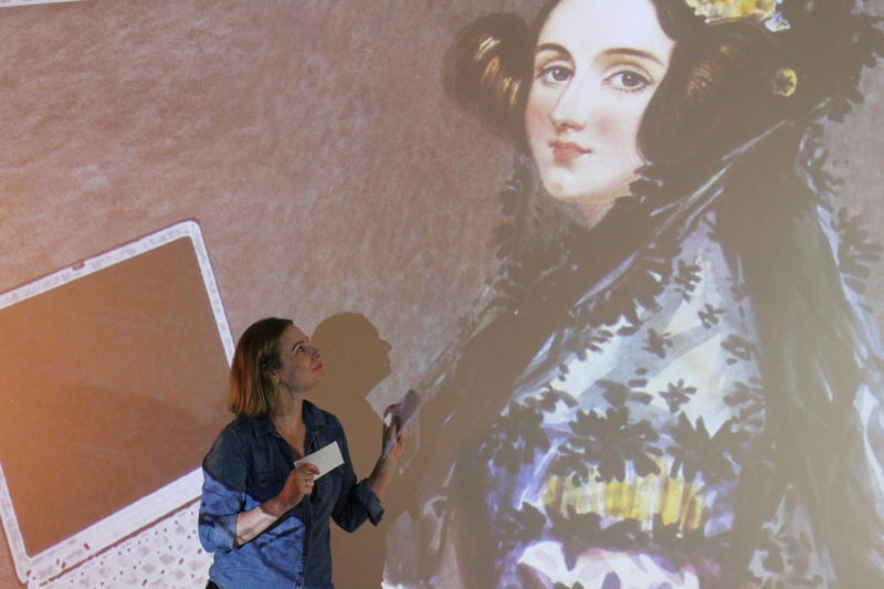 "In Found Stages' ""Empty Rooms,"" the main character Jennifer confides in a portrait of her hero Ada Lovelace."