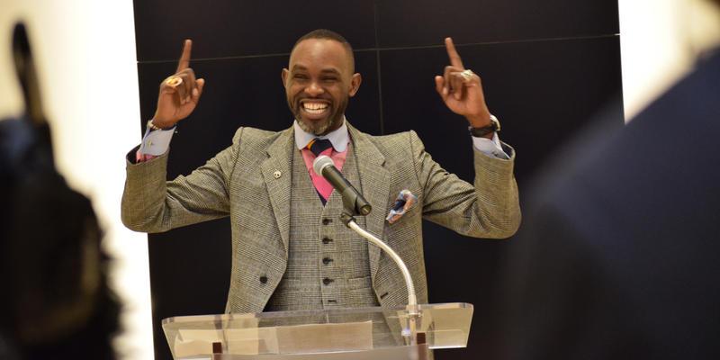 Derreck Kayango addresses the media