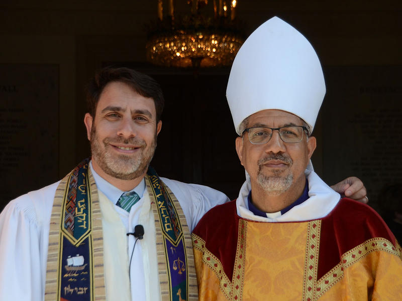 Rabbi Peter S. Berg and Bishop Robert Wright pose together at The Temple in Atlanta, Georgia on Tuesday, March 31, 2015.