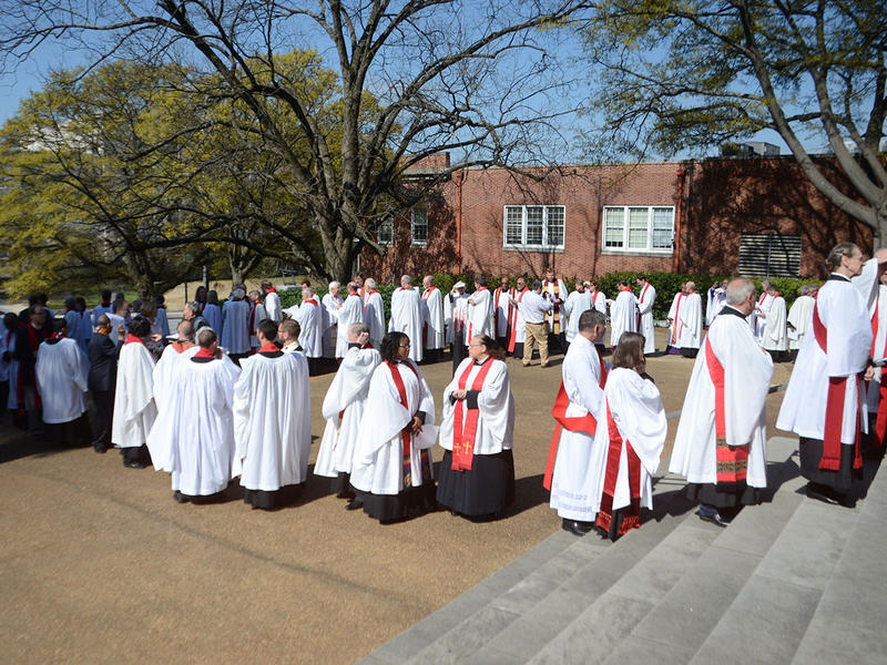 At the renewal of vows for the clergy of the Episcopal Church, the clergy prepare to enter the sanctuary at The Temple in Atlanta, Georgia on Tuesday, March 31, 2015. (Photo/Brenna Beech)
