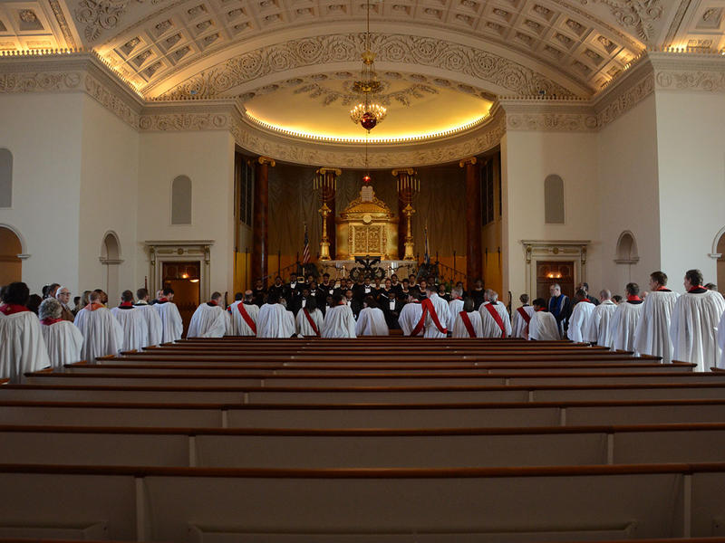 At the renewal of vows for the clergy of the Episcopal Church, the clergy is dressed in white robes in the center section of the sanctuary at The Temple in Atlanta, Georgia on Tuesday, March 31, 2015. (Photo/Brenna Beech)