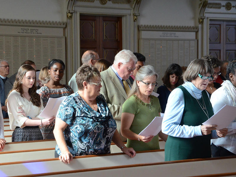 Part of the congregation at the renewal of vows for the clergy of the Episcopal Church.