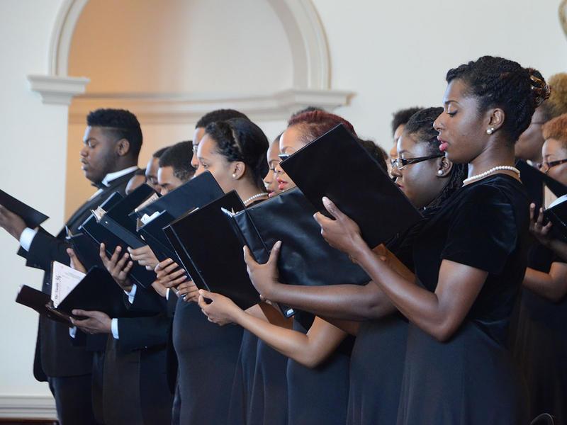 Led by Dr. Curtis Everett Powell, the Clark Atlanta University Philharmonic Society sings at The Temple in Atlanta, Georgia on Tuesday, March 31, 2015. (Photo/Brenna Beech)