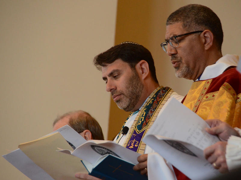 Rabbi Peter S. Berg and Bishop Robert Wright stand side by side at The Temple in Atlanta, Georgia on Tuesday, March 31, 2015. (Photo/Brenna Beech)