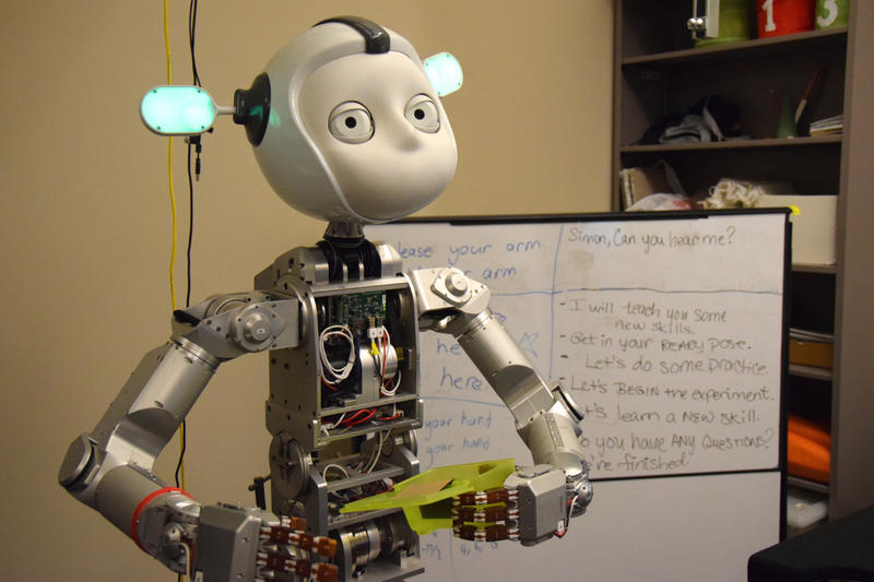 Robot 'Simon' stands in the lab during a demonstration. Students from around metropolitan Atlanta participated in the Georgia Tech event as part of National Robotics Week. April 8, 2015.