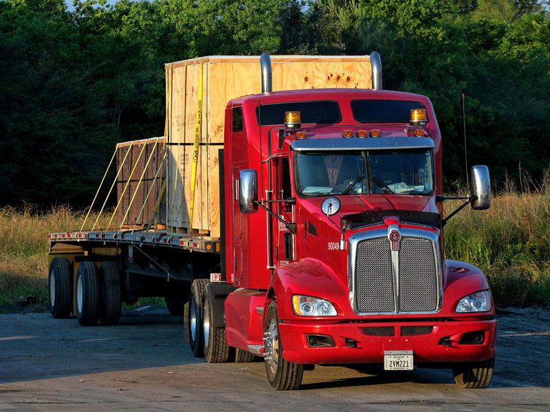 A truck hauling a load