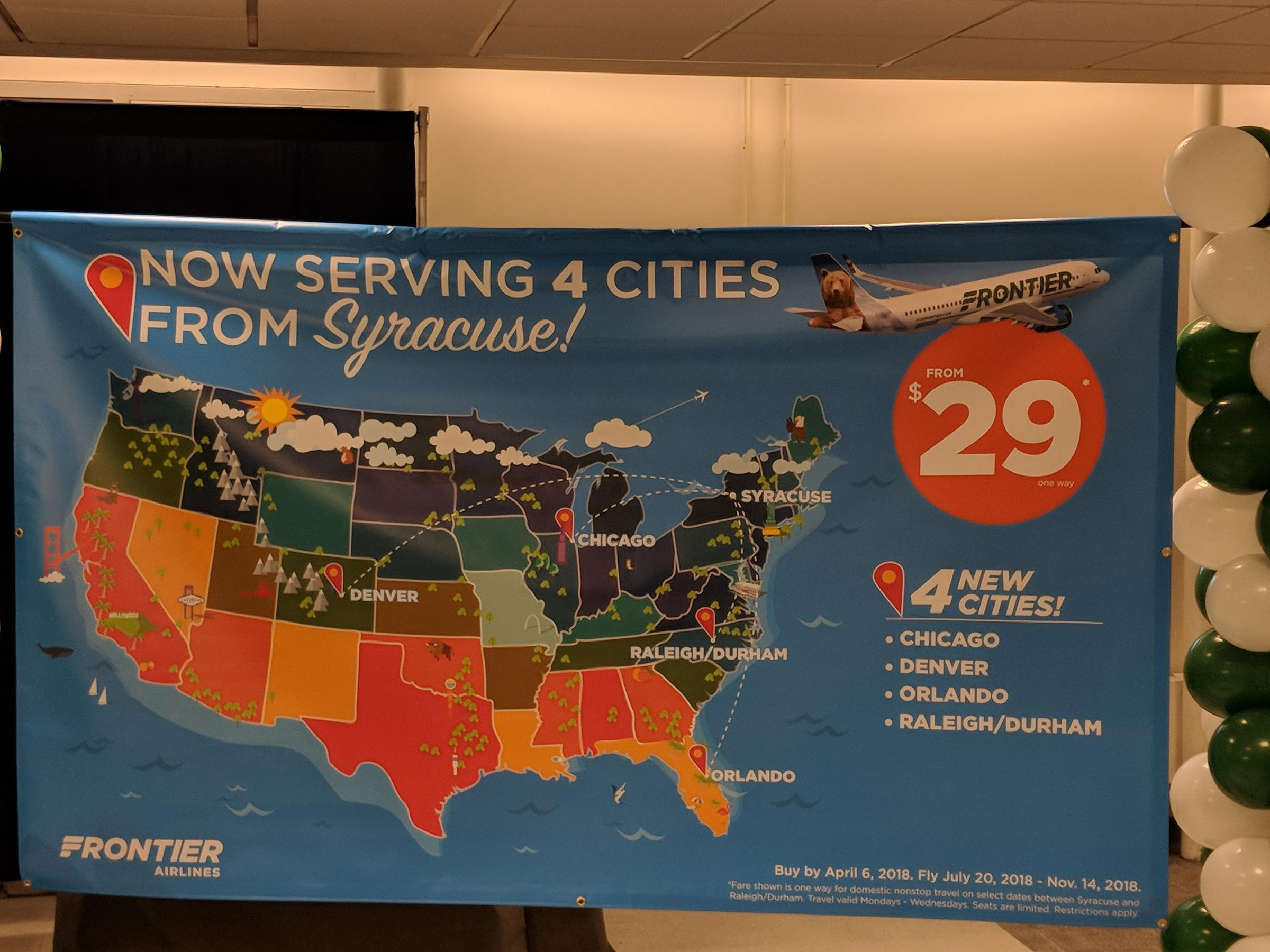 Discount Carrier Frontier Airlines Comes to Syracuse, Bringing New on