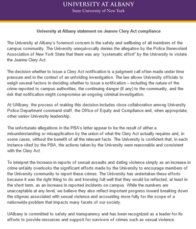 PBA Of NYS Files Complaint Against UAlbany | WAMC