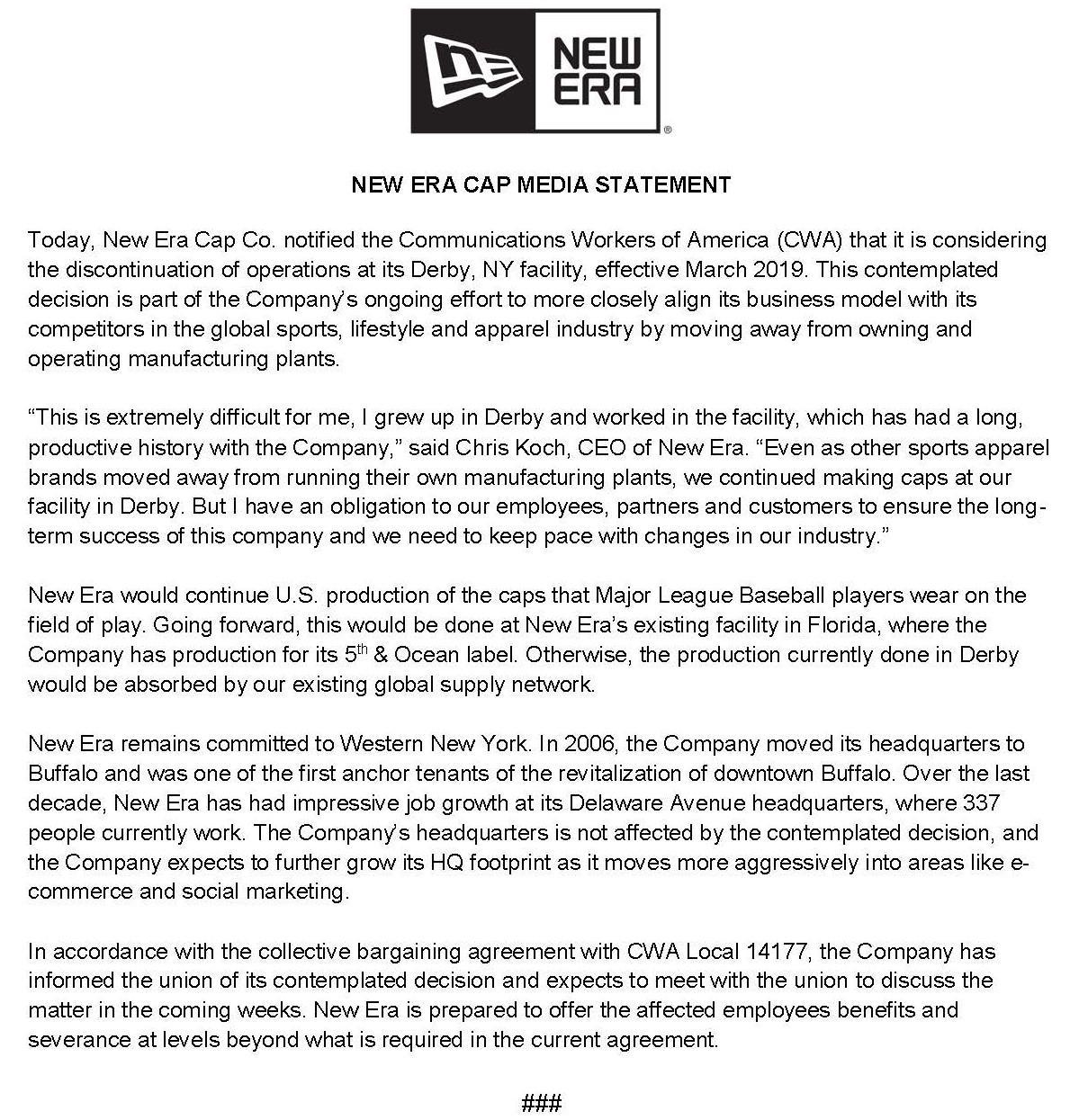 New Era preparing to close Derby manufacturing plant | WBFO