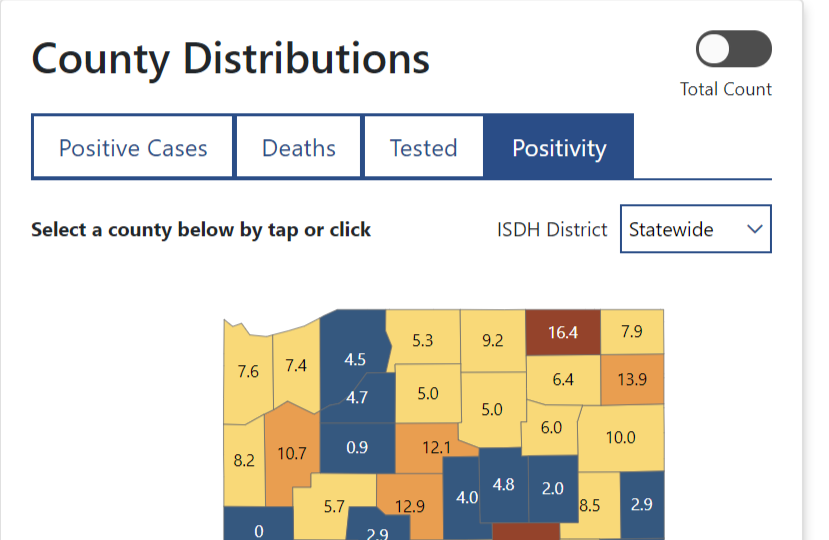 New State Positivity Map Shows Counties Rate For Coronavirus Northeast Indiana Public Radio